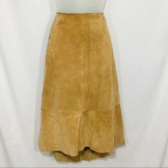 Banana Republic Vintage Tan Leather Maxi Skirt